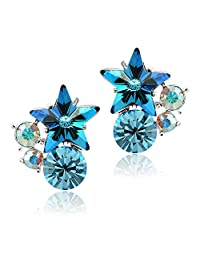 Shining Blue Swarovski Elements Crystal Star Stud Earrings for Girls and Women
