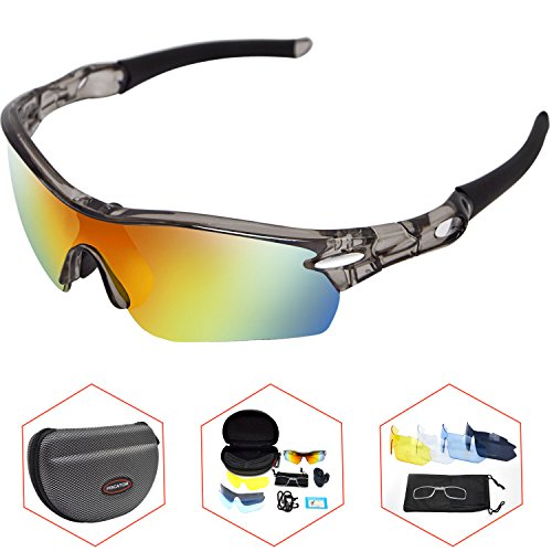 Sports Polarized Sunglasses-TR90 Frame 5 Lens Protective Motorcycle Goggles-Delicate Cases Pouches Set-Prevent Particulates and Sun-in Black Eyeglasses - Used Pilots By Sunglasses
