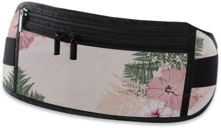 Fern Tropical Leaves Hibiscus Flower Running Lumbar Pack For Travel Outdoor Sports Walking Travel Waist Pack,travel Pocket With Adjustable Belt