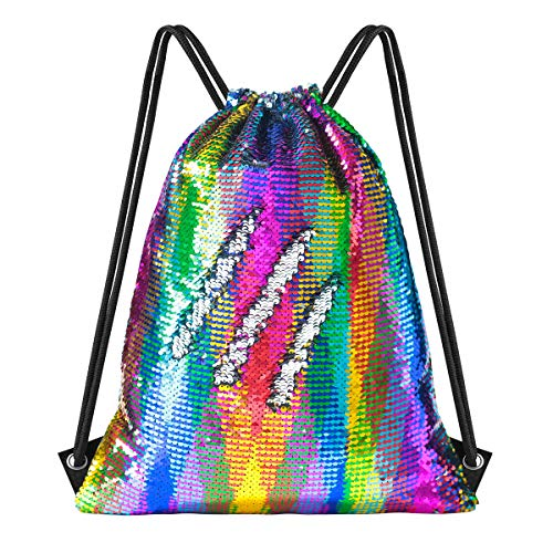 New Mini Size Kids Mermaid Sequin Drawstring Bags Reversible Flip Sequin Gym Dance Bag Glitter Bling Sports Bag Travel Bags Beach Bag Birthday Gift for little Girls Boys Daughter Children-(11