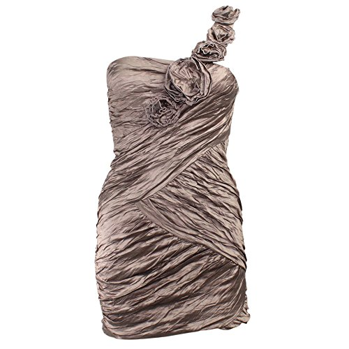 BCBG Max Azria Womens Evangeline Rosette One Shoulder Mini Dress Fatigue 2