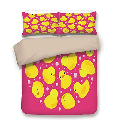 Duvet Cover Set,Back of Khaki,Rubber Duck,Fun Baby Duckies Circle Artsy Pattern Kids Bath Toys Bubbles Animal Print,Pink and Yellow,Decorative 3 Pcs Bedding Set by 2 Pillow Shams,Queen -