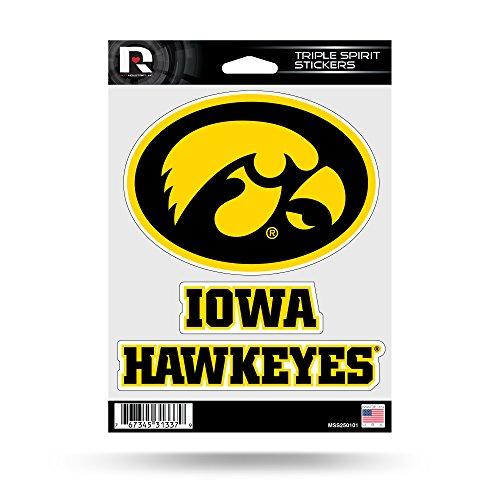 Triple Spirit Stickers, Black, Yellow, 3 Team Stickers (Ncaa Iowa Hawkeyes Decal)