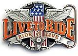 LIVE TO RIDE Belt Buckle Motorcycle Biker Harley Wings