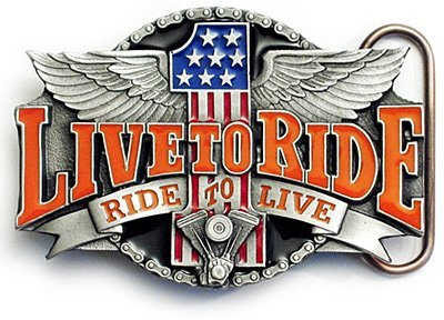 LIVE TO RIDE Belt Buckle Motorcycle Biker Harley Wings