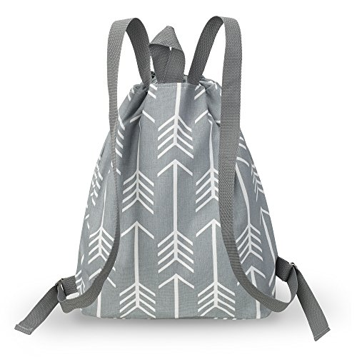 Kuzy – Gray Arrows Backpack Bag Cotton Handmade for MacBook and Laptop, Books Travel Bags – Grey Arrow