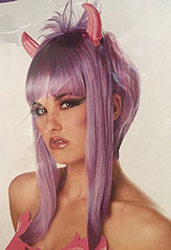Purple and Pink Devilicious Costume Wig with Horns (Naughty Devil Costume)