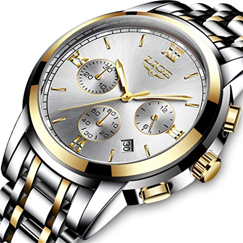 Watches Mens Waterproof Sports Analog Quartz Watch Gents Luxury Brand LIGE Stainless Steel Business Dress Date Calendar Wristwatch (Fold Over Clasp With Hidden Double Push Button)