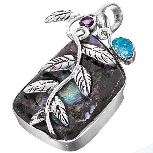Natural Opal Boulder Amethyst Sterling Silver Pendant YE-1483