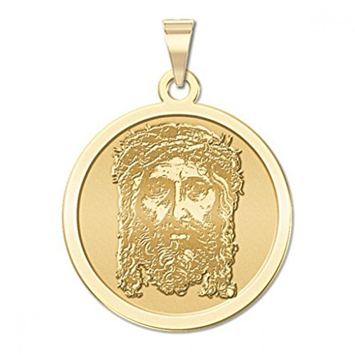 Holy Face of Jesus Round Religious Medal - 2/3 Inch Size of Dime, Solid 14K Yellow Gold ()
