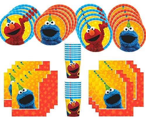 MSS Sesame Street Birthday Party Supplies Bundle Pack for 16 Guests -