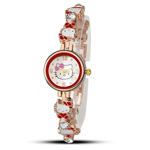 Hermosos Relojes de Moda Reloj de Pulsera de Dibujos Animados de Gato Kitty Reloj Reloj Mujer Estudiante: Amazon.es: Relojes