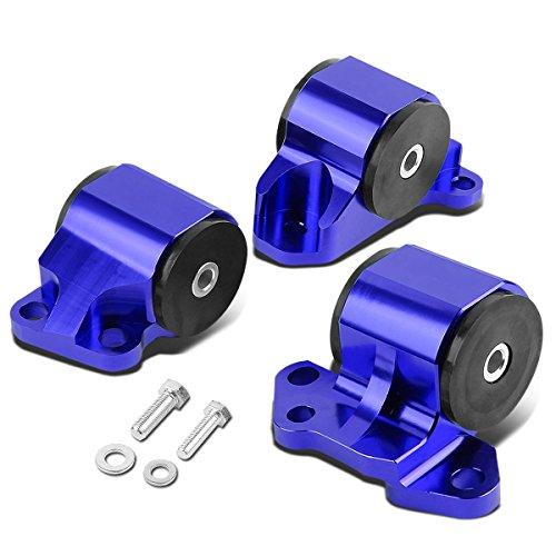 For Honda Civic/Acura Integra B & D Series MT 3pcs Billet Aluminum 2-Bolt Engine Mount Kit (Blue)