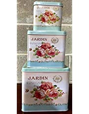 Beautiful Square Shaped Cookie Storage Tins, Shabby Chic, Set of 3 in Elegant Floral themed with Rose design