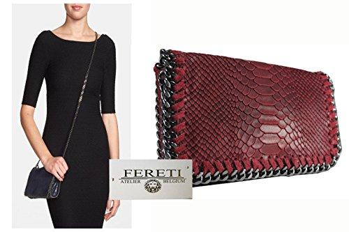 FERETI Damen Dunkelrot Leder Clutch Tasche umhangetasche Abendtasche Schultertasche mit Kette