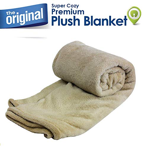 Cloudz Super Cozy Premium Plush Travel Blanket - Tan