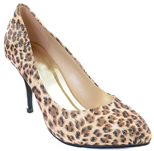 Leopard Shimmer Gold Low Heel Classic Pumps