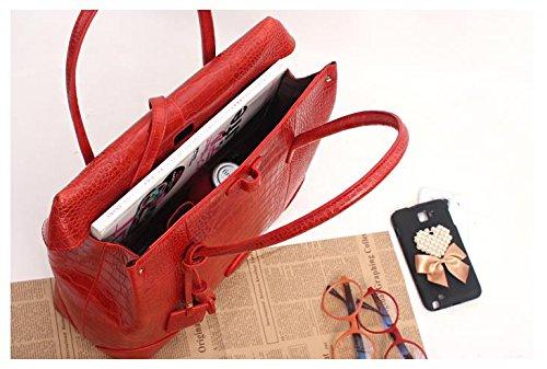 Fashion Crocodile Pattern Leather Shoulder Handbag 4 Color (Red) by PRISTINE&BB (Image #8)