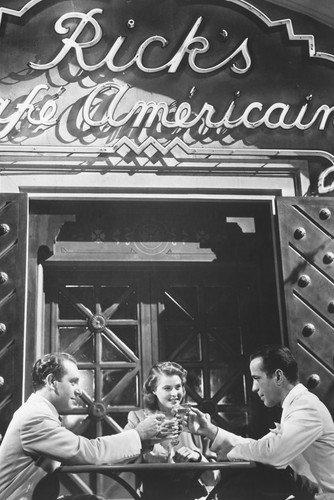 Casablanca B&w 24x36 Movie Poster Humphrey Bogart & Ingrid Bergman Paul Henreid toasting outside Rick's Cafe American from Silverscreen