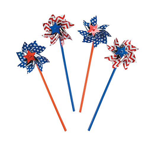 Fun Express American Flag Patriotic Pinwheels (36 per Order) Fourth of July Party - Patriotic Party Decorations]()