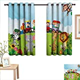 Cartoon Customized Curtains Kids Nursery Design Happy Children on a Choo Choo Train