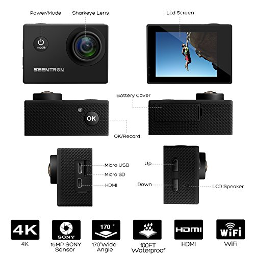 Waterproof Underwater 4K WiFi Action Camera - Ultra HD Sports Cam with 16MP SONY CMOS Sensor/170 Degree Wide Angle SharkEye Lens/2.4G Remote Control/2 Rechargeable Batteries and Portable Package