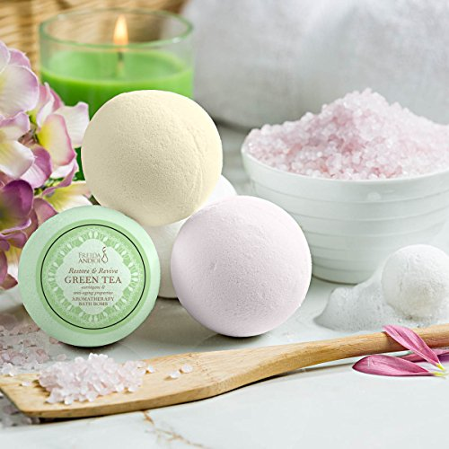 Mothers Day Lush Bath Bomb Gift Set for Women: 6 Aromatherapy Scents With Essential Oils Orange, Yoga Sunrise, Cucumber-Melon, Pink Grapefruit, Green Tea, and Honeycomb