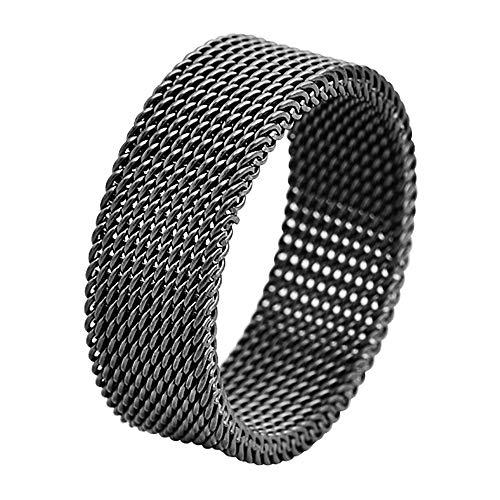 Geoffrey Beene Stainless Steel Men's Comfort Fit Mesh Ring, Black (Steel Stainless Mesh Ring)