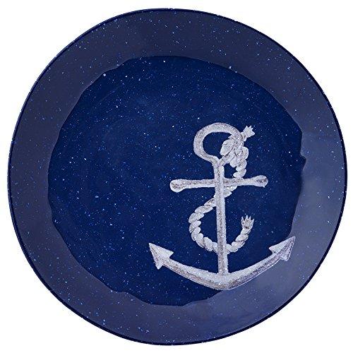 Merritt Speckled Nautical Anchor 8.5-inch Melamine Salad Plate, Blue, Set of 6