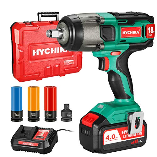 Cordless Impact Wrench, HYCHIKA 350Nm Impact Driver with 4.0Ah 18V Battery, 3000IPM Impact Frequency, 3pcs Sockets for 17/19/21mm, Adapter for 10mm Mandrel and Storage Box for Wheel Bolts Screwdriving