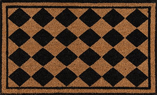 - Erin Gates by Momeni Park Harlequin Black Hand Woven Natural Coir Doormat 1'6