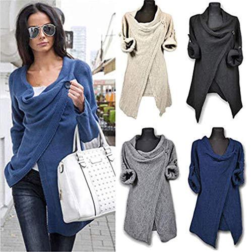 Coverup A Da Moda Asimmetrica Caldo E Blu Autumn Cape Cappotto Accogliente Casual Maglia Winter Cardigan Donna Poncho 8pqTW1