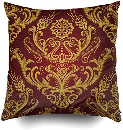 Pamime Anchor Pillow Cases Square Throw Decrotive Pillow Covers Luxury Red Amp Gold Flal Damask Wallpaper Pillow Case Cover For Home 18x18inches Art Pillowcase Pink Blue Home Kitchen