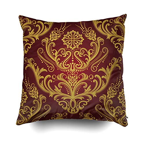 Pamime Square Throw Luxury Red amp Gold Floral Damask Pillow Case Cover Decorative Cushion for Home 20X20Inches(50X50cm) Pillowcase ()