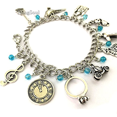 BlingSoul Cinderella Charm Bracelet Jewelry by Silver Disney Costume Jewelry For Her (Silver)