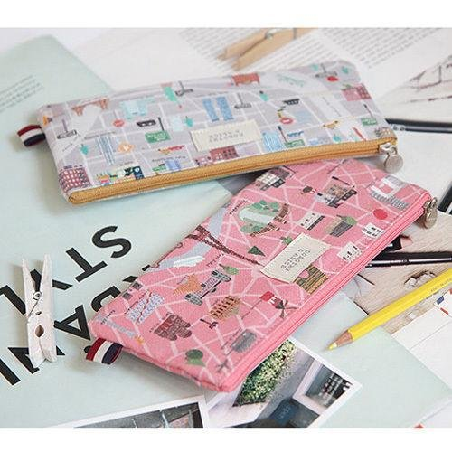 1x Travel Map Slim Linen Pencil Case Pen Bag School Supplies Stationery Zip Bag