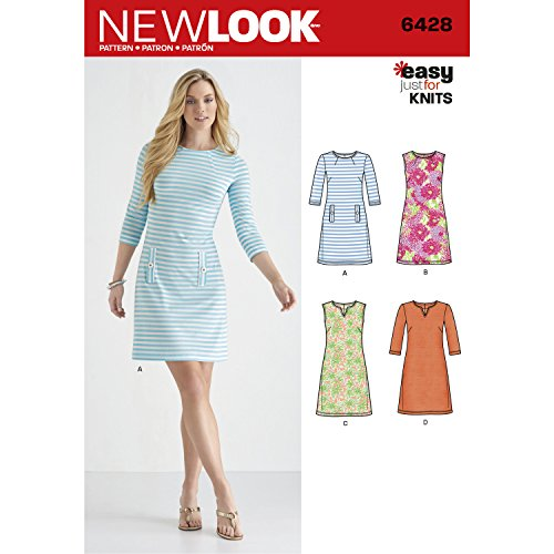 New Look Patterns Misses' Knit Dresses Size A (8-10-12-14-16-18-20) 6428 by New Look