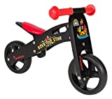 BIKESTAR Original Safety Wooden Lightweight Kids First Balance Running Bike with air Tires for Age 18 Months Old Boys and Girls | 7 Inch Edition | Black Pirate