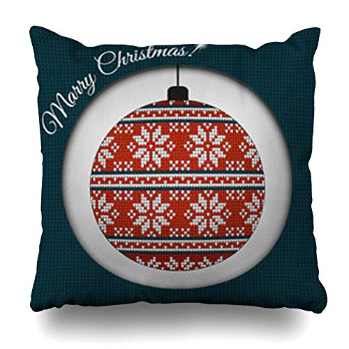 (NOWCustom Throw Pillow Cover Retro Ball Fair Pattern Sweater Wool Knitted Needlework Abstract Chevron Christmas Classic Crochet Zippered Pillowcase Square Size 18 x 18 Inches Home Decor Pillow Case)