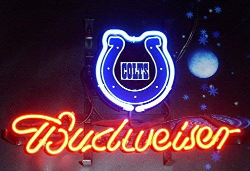Desung Brand New 14''x10'' B udweiser Sports Team I-Colts Neon Sign (Various Sizes) Beer Bar Pub Man Cave Glass Neon Light Lamp BW05