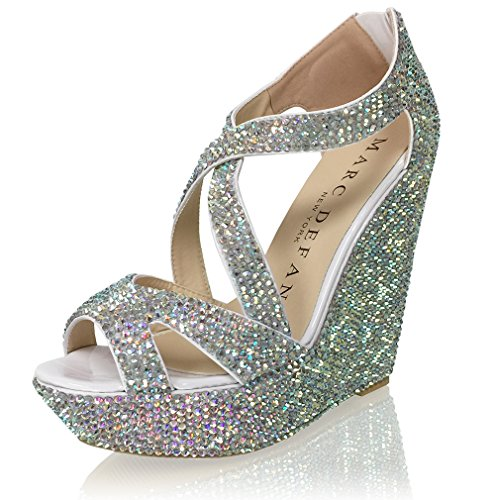 Marc Defang New York Women's Handmade Crystal Bridal Wedding Strappy Platform Wedges (7.5M US) by Marc Defang New York