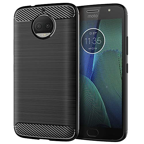 Moto G5S Plus Case,Silicone Soft Flexible TPU Slim Fit [Anti-Fingerprint] Shock Absorption Anti-Scratches Carbon Fiber Pattern Protective Cases Cover for Motorola G5S Plus (Black)