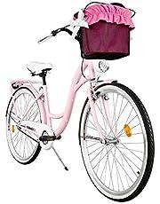 Milord. Comfort Fiets met mand, Nederlandse fiets, damesfiets, 1 versnelling, roze, 28 inch