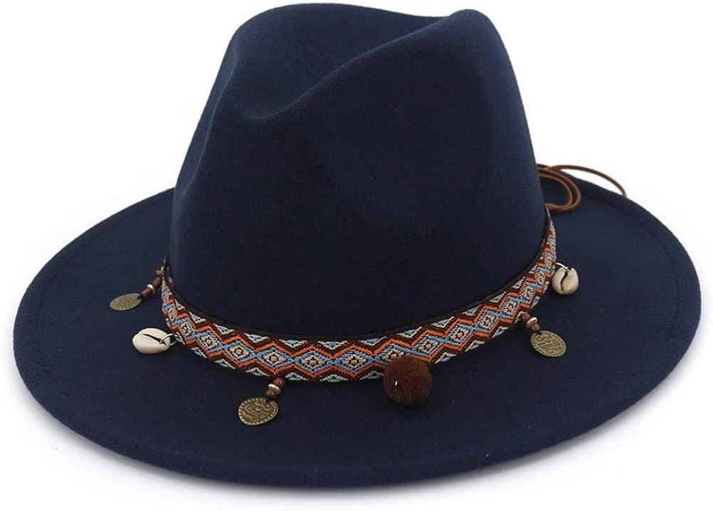 Unisex Vintage Fedora Hats Elegant Royal Felt Top Hats Wide Brim with Ethnic Style Ribbon Jazz Cap