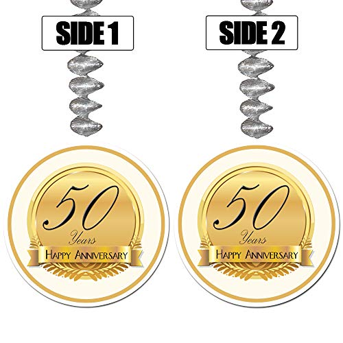 50TH Anniversary Medallion Dangler (3/Pkg) by Partypro