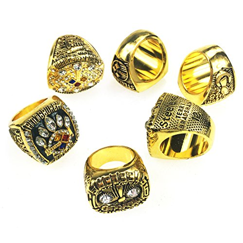 GF-sports store A Set of 6 Pittsburgh Steelers Super Bowl Championship Replica Ring by Display Box Set-(Yellow) (Pittsburgh Ring Steelers)