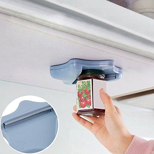 Sinwo Jar Opener Under Kitchen Cabinet Counter Top Lid Remover Arthritis Kitchen Tool -