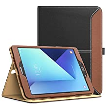 MoKo Galaxy Tab S3 9.7 Case - Slim Folding Stand Folio Cover for Samsung Galaxy Tab S3 9.7 Inch 2017 Tablet (SM-T820/T825) with Auto Wake/Sleep and Card Slots, Multiple Viewing Angles, BLACK & BROWN