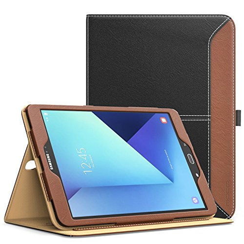 MoKo Galaxy Tab S3 9.7 Case - Slim Folding Stand Folio Cover for Samsung Galaxy Tab S3 9.7 Inch 2017 Tablet (SM-T820/T825) with Auto Wake/Sleep and Card Slots, Multiple Viewing Angles, BLACK & BROWN (Samsung S3 Case Card Holder)