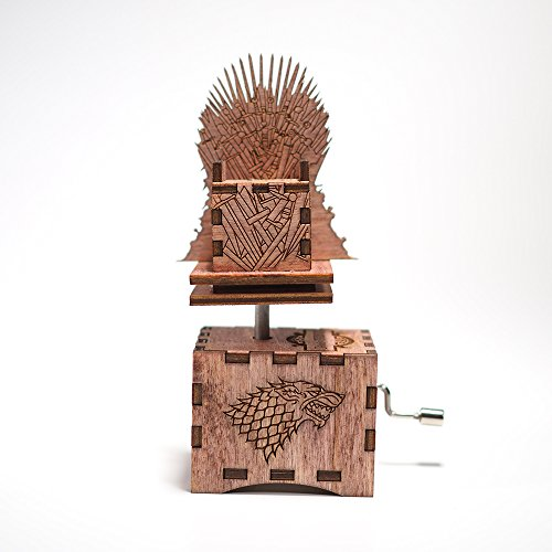 Game of Thrones Music Box - Iron Throne / Main Theme - Laser cut and laser engraved wood music box in mahogany. Perfect gift, memorabilia or collectible (Musical Laser)
